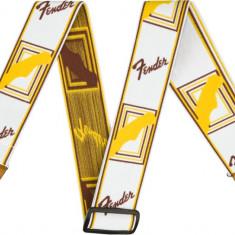Curea chitara Fender Weighless Mono Strap White/Brown/Yellow
