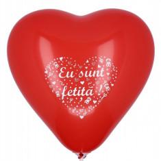 10 Baloane botez inimioare rosii 30cm imprimate Eu Sunt Fetita