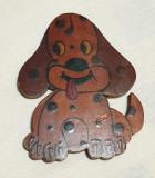 Catel - lemn pirogravat - Romania 1970 piesa decor - obiect vechi de colectie