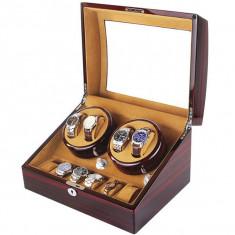 Cutie pentru intors ceasuri automatice iUni, Watch Winder 4 + 6 spatii depozitare Mahon