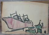 Marina// studiu Ion Taralunga, acuarela pe hartie, Peisaje, Avangardism