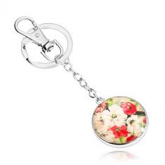 Breloc în stil cabochon, sticlă proeminentă, flori albe și roșii