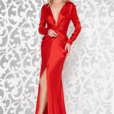 Cumpara ieftin Rochie Ana Radu rosie de lux tip sirena din material satinat cu decolteu adanc accesorizata cu cordon