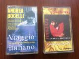 andrea bocelli romanza + viaggio italiano 2 casete audio muzica usoara clasica