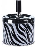 Scrumiera din metal cu buton 9.5x8cm model zebra