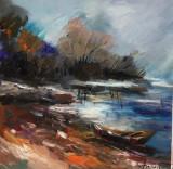 Tablou ulei( 25/25 cm)- MARGINE DE LAC