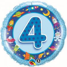 Balon bleu 4 ani din folie Cosmos 43cm