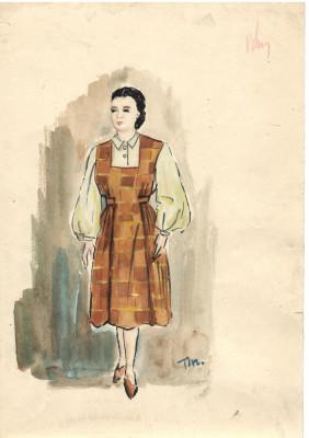 Personaj femeie, costum spectacol, tehnică mixta, 21x29 cm, teatru, scenografie foto