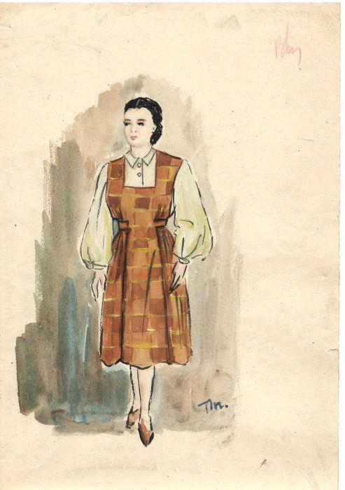 Personaj femeie, costum spectacol, tehnică mixta, 21x29 cm, teatru, scenografie