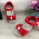 Cumpara ieftin Sandale rosii elegante cu fundita pt bebe / fete 20 21 25 31 32 33 35 36