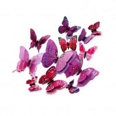 Fluturi 3D magnet, dubli, decoratiuni casa, evenimente, 12 bucati, mov, A34