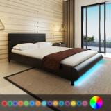 Pat cu saltea și LED, 140 x 200 cm, piele artificială, negru