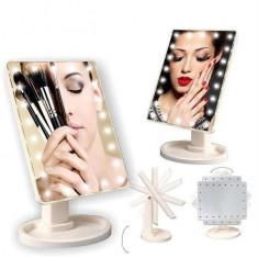 Oglinda cosmetica pentru machiaj make up alba LED cu lumini luminoasa 4 baterii
