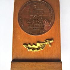Placheta / Medalie, pe suport de lemn: Romaniafilm, Buftea 1983