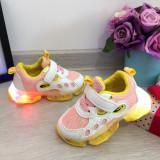 Cumpara ieftin Adidasi usori albi roz galbeni cu lumini LED - beculete pt fete 21 22 23