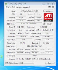 Placa video  Dell Inspiron  6400/E1505-ATI 128Mb cu 64Biti
