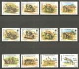 SOMALIA 1992-ANIMALE Serie completa de 12 timbre nestampilate,MNH, Nestampilat