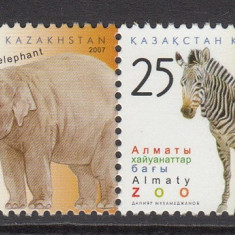 Kazakhstan, fauna, zoo, elefant, zebra, 2007, MNH**