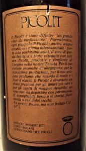 A87 -VIN PICOLIT DEL FRIULI, POPERI CONTI BOLANI recoltare 1982 cl 75 gr 14