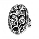 Inel superb piatra negru onix stilizat vintage floricele zirconia placat argint