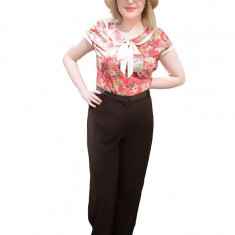 Pantalon elegant, nuanta de maro, inchidere cu fermoar rafinat