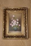 Tablou pictat in ulei vaza cu flori.