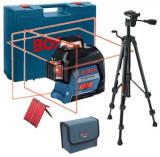 Pachet BOSCH GLL 3-80 + BT 150, nivela laser cu linii, 120 m, valiza transport + trepied