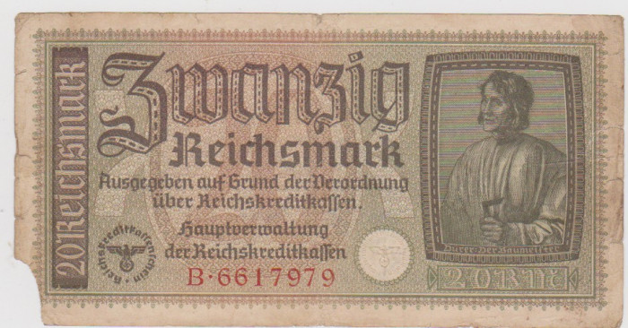 BANCNOTA 20 REICH MARK  GERMANIA FARA AN APROXIMATIV 1933/S SPRE F