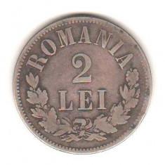 SV * Romania   2  LEI  1876  *  ARGINT .835  *  Regele Carol I   *   mai rara