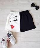 Cumpara ieftin Pantaloni dama casual half alb/negru scurti cu imprimeu Girl