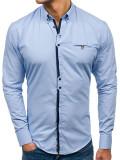 Cumpara ieftin Cămașă elegantă pentru bărbat cu mâneca lungă albastră-deschis Bolf 7720