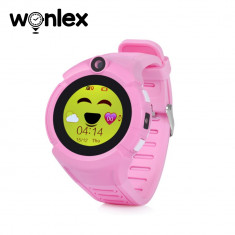Ceas Smartwatch Pentru Copii Wonlex GW600-Q360 cu Functie Telefon, Localizare GPS, Camera, Lanterna, Pedometru, SOS - Roz
