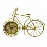 Ceas Metal Cu Baterii Incluse, Forma Bicicleta Auriu