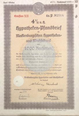 1000 Reichsmark titlu de stat Germania 1938 foto