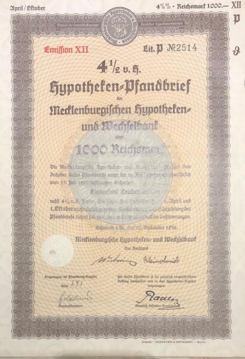 1000 Reichsmark titlu de stat Germania 1938
