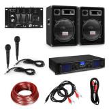 "Electronic-Star Set pentru petreceri HiFi DJ PA, amplificator, boxe 2 x 12 "", mixer, 2 microfoane"