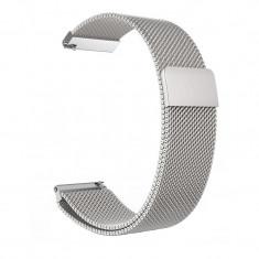 Curea Milanese Slim Fit compatibila Huawei Watch GT, Telescoape QR, 22mm, Argintiu
