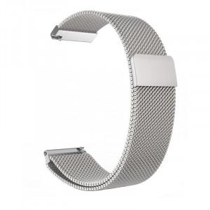 Curea Milanese Slim Fit compatibila Samsung Gear 2, Telescoape QR, 22mm, Argintiu