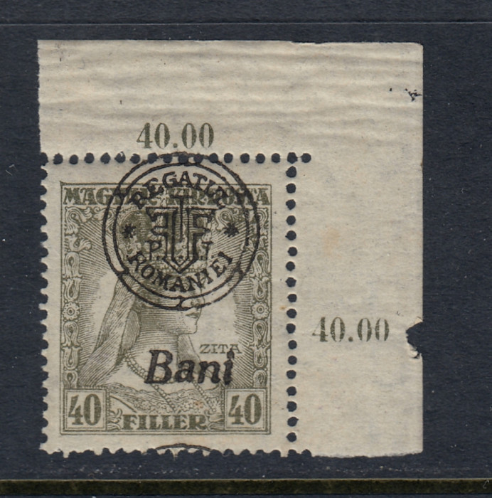 ROMANIA 1919 - CLUJ ORADEA ZITA EROARE MONOGRAM SUPRATIPAR DEPLASAT MNH BODOR