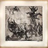 Marcel Chirnoaga - Boii de tractiune , acvaforte 40 x 42 cm