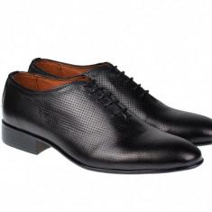 Pantofi barbati negri, lux - eleganti din piele naturala - CARLOS 026NPERF