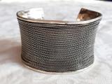 BRATARA argint ARVI INDIA etnica TRIBALA lata REGLABILA veche MASIVA de efect