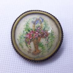 BROSA splendida BUCHET de FLORI in vaza VECHE vintage SPLENDIDA rara DE EFECT