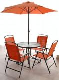 Set mobila de gradina,terasa TBAG masa rotunda 80cm cu 4 scaune orange MN0109390 umbrela Raki
