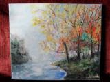 Lacul din padure-pictura ulei pe panza, Peisaje, Altul