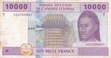 CONGO Africa Centrala 10000 FRANCS 2002 VF