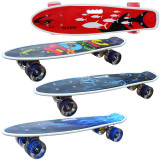 Placa skateboard cu roti silicon, LED, maner transport, 55 cm