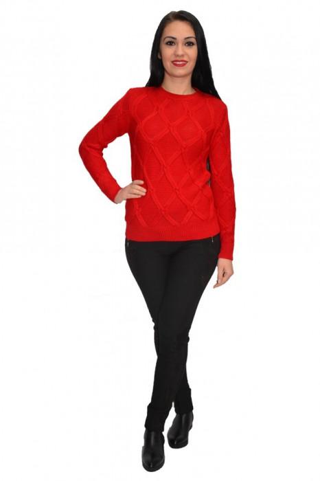 Bluza rafinata cu model ,realizata cu tricot nuanta rosu