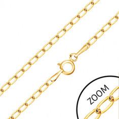 Lanț di aur 375 - zale ovale plate lucioase, 600 mm
