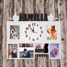 """Rama Foto cu Ceas """"Familia Este Totul"""""""